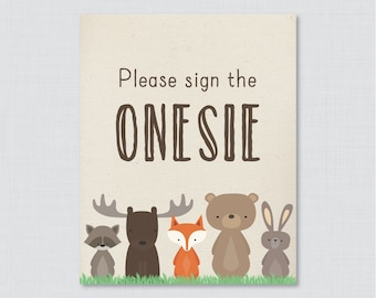 "Woodland Baby Shower ""Sign the Onesie"" Sign - Printable Download - Baby Shower ""Please Sign the Onesie"" Sign, Sign the Guestbook - 0010"