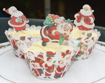 Edible 'Jolly Santa' Father Christmas Figures 25 Wafer Rice Paper Traditional Vintage Cake Cupcake Cookie Xmas Toppers Holiday Beard Red