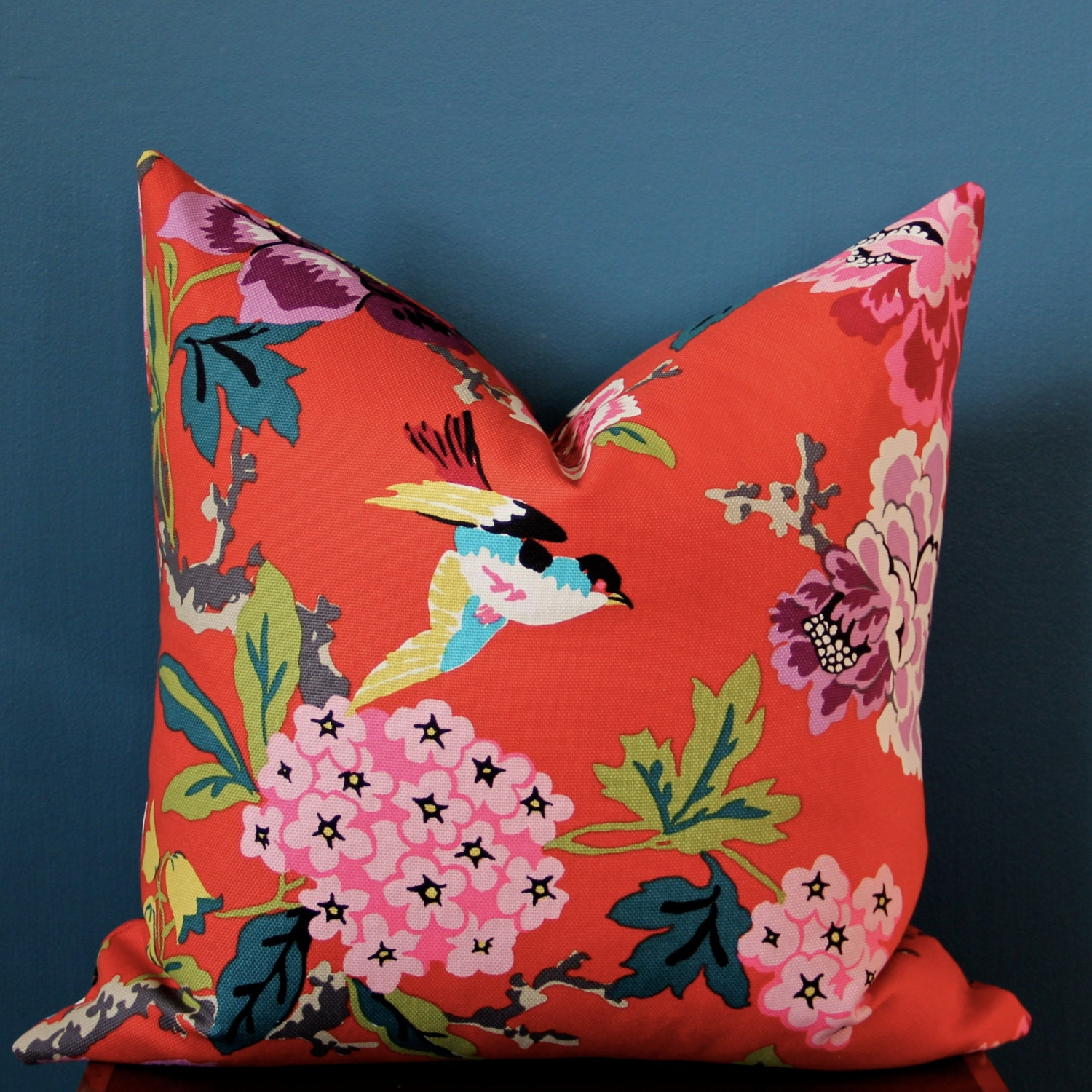 Chinoiserie Pillow Cover Colorful Pillow Cover Bird Pillow