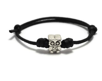 Owl Jewelry, Owl Bracelet, Owl Anklet, Owl Jewellery, Waxed Cord Bracelet, Gift for Her, Sliding Knot Bracelet, Owl Lovers Gift, Owl Gift