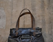 "ITALIAN UPCYCLE HANDBAG - Top-handle bag created from military leather recycle - Leather handbag ""Manuela Pelle"""