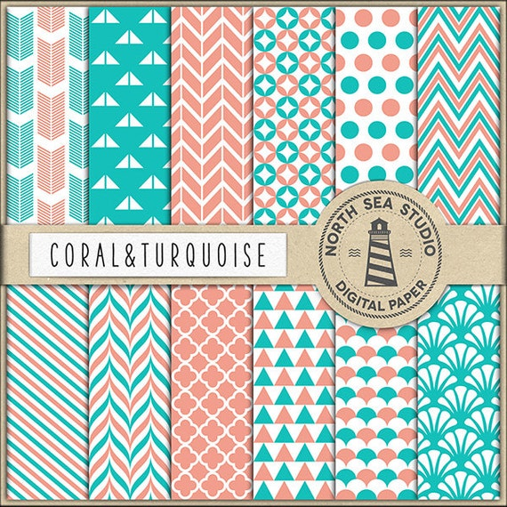 Color Inspiration Coral And Turquoise Digital Paper Pack