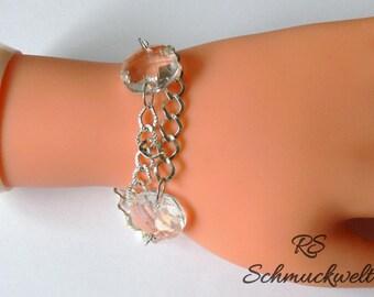 Link Bracelet, silver bracelet, Crystal bracelet, wedding bracelet, elegant bracelet, gift for you, large crystals, BrautjungferGeschenk