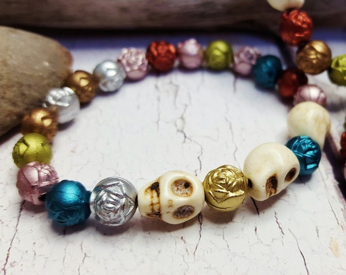 Sugar Skull Bracelet ~ Hip Latina Stacker ~ Feast Of The Dead Roll On Bracelet For Her ~ Floral Skull Jewelry For All Souls Day, Halloween