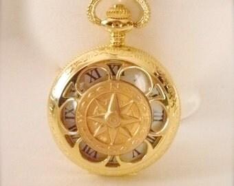 True North Pocket Watch With Chain, Men's Goldtone Nautical Pocket Watch, True North Compass, Groomsmen Gift, Nautical Pocket Watch