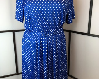 Blue and White Polka Dot Dress, Vintage Women's Dress, Anthony Richards, 1980s Secretary Dress, Plus Size, Size 24