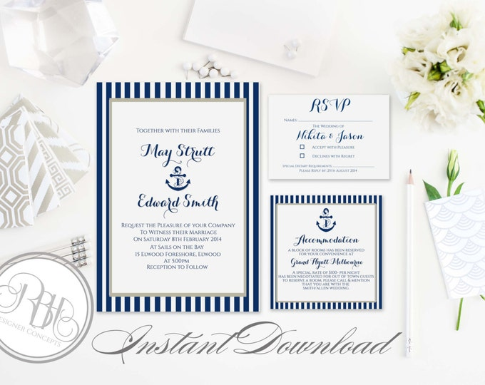 Nautical Invitation-Information Card-Reply Card-Templates-INSTANT DOWNLOAD-DIY Editable Text-Stripe-Boat Anchor-Xena Navy White Package