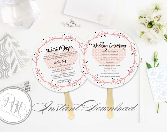 Rustic Pink Wreath Wedding Program Fan Template -Instant DOWNLOAD - EDITABLE TEXT pdf Only - Rustic Pink Wreath Round Fan -Kimberley