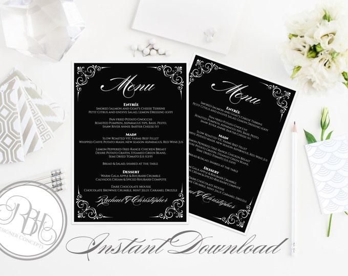 "Black & White Menu Wedding Template - INSTANT DOWNLOAD- DIY Text Editable-Black White Corner Floral Swirl-""Samantha"""