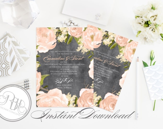 """Rustic Chalkboard Wedding Invitation Template-INSTANT DOWNLOAD-5x7 PDF Editable Text Only-Watercolor Flowers Peach Peonies-""""Juliet-Nadine"""""""