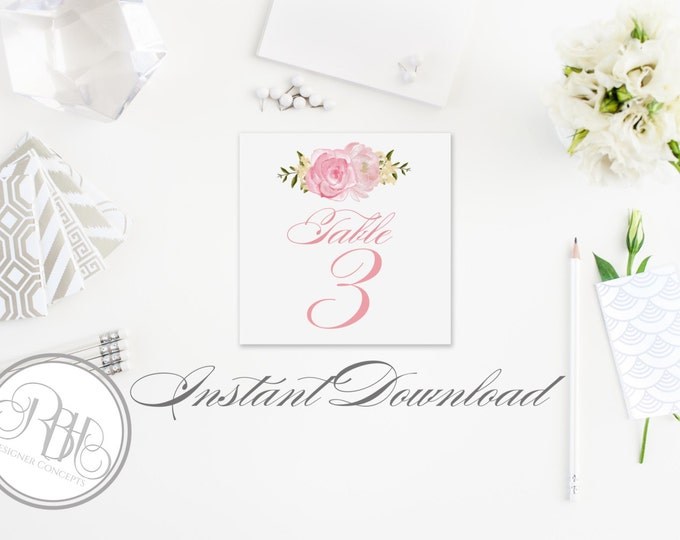 """Pink Peonies Table Number Card Template-INSTANT DOWNLOAD-Table Number PDF Editable Text Only-Pink Peonies Roses Diy Printable - """"Juliet"""""""