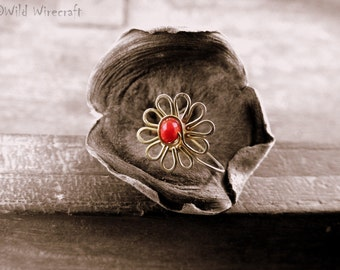 Red Flower Faux nose ring/Fake Nose Ring/Wire Wrapped jewelry/Handmade/Brass Nose Ring/Body Jewelry/Free Combined Shipping/Nose Clip on/Art