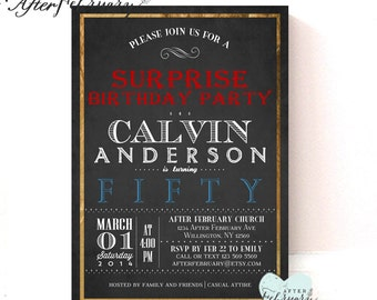Any Ages Adult Birthday Invitation // Charcola Black Background // Custom Colors 30th 40th 50th 60th 70th 80th // No.489