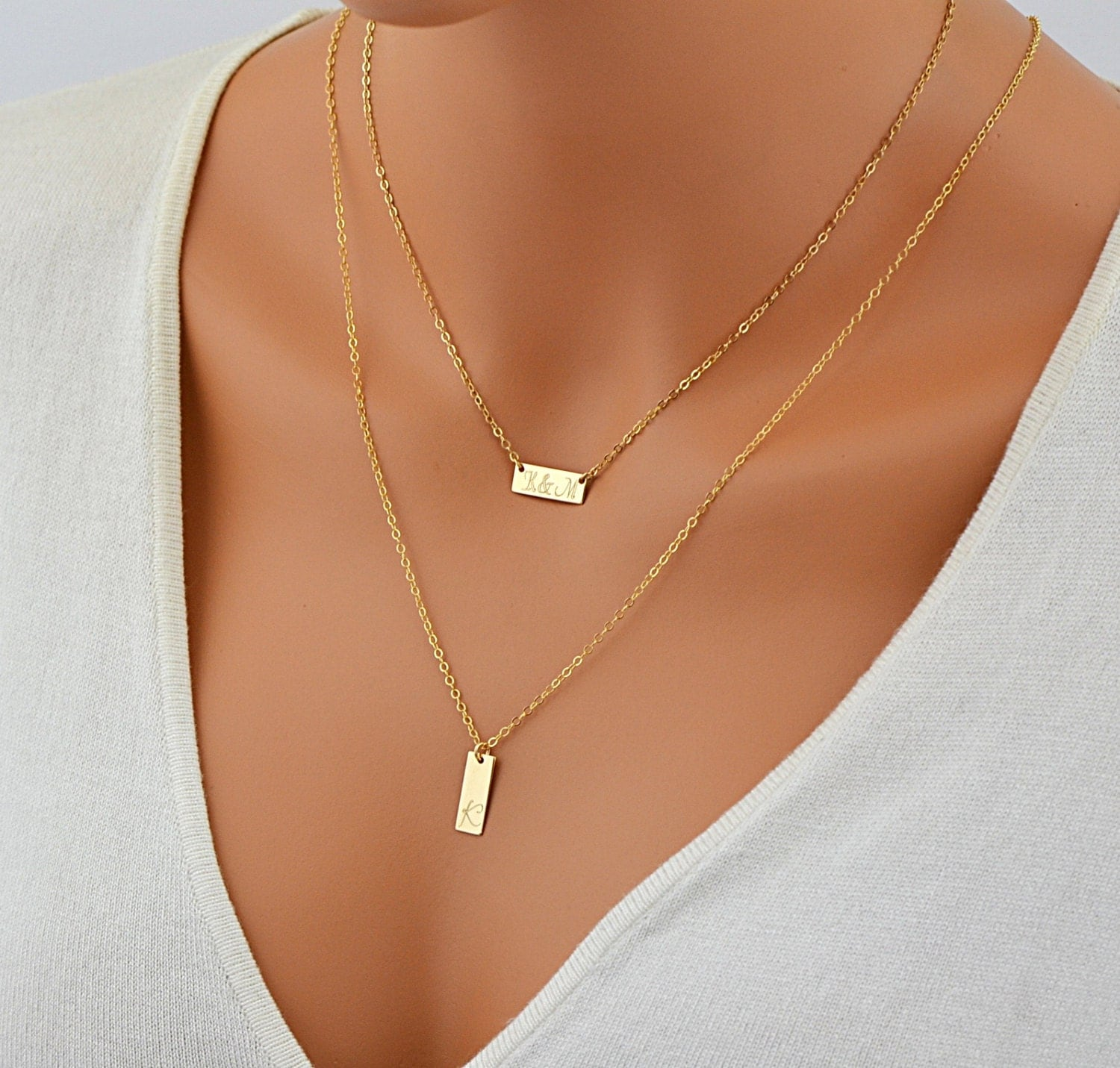 Layered Necklace Personalized Engraved Necklace Tag Charm