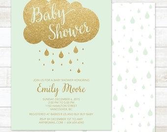 mint baby shower invitation printable baby mint green gold glitter rain cloud rain drops shower gender neutral digital invite customizable