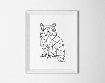 Nice Owl Printable Art, Geometric Owl Print, Owl Wall Art, Owl Decor, Abstract Part 15