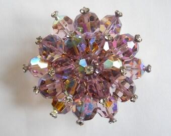 Crystal Brooch, Amethyst AB Crystals, Beaded Pin