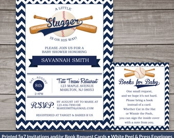 Baseball Baby Shower Invitations -  Sports Themed Baby Shower Invitation - Navy Blue Chevron - Printed Invitations 245