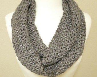 Crochet Infinity Scarf in Sparkly Dark Gray