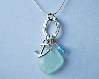 Sea Glass Anchor Sterling Silver Necklace