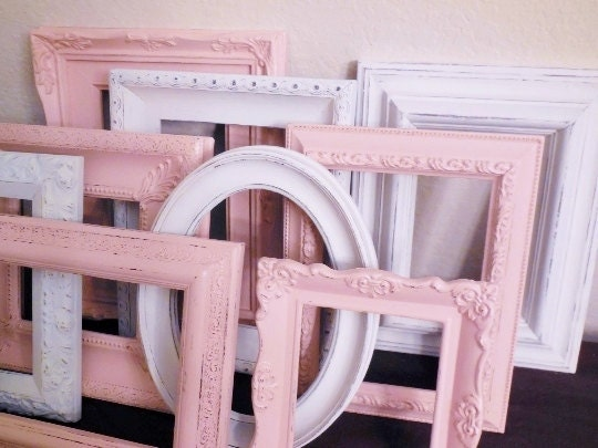 White and Pink Picture Frame Set, FREE SHIPPING, Photo Frames, Cottage Chic Hand Painted Ornate, Custom Home Decor, Nursery, Wedding