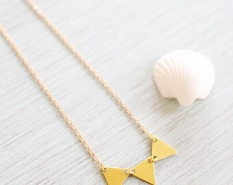 Gold bunting necklace - Gold triangle bunting necklace in plated or 14k gold fill - Triple Triangle Gold Necklace - Tiny Gold Bib Necklace