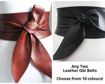 Any Two Leather Tulip Tie Obi belts | Real Leather belts | Multi listing | tulip tie Belts | Ladies Leather belts | plus size | corset belts