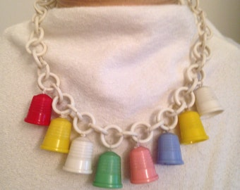 Vintage Celluloid Necklace with Thimbles