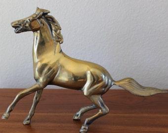 Vintage Brass  Rearing Horse Stallion Figurine Statue