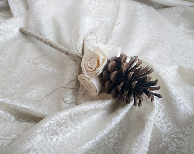 Flowergirl wand cream rustic wedding Ivory Flowers, pine cone, linen cord handle, Flower girl, Bridesmaids, sola roses vintage custom