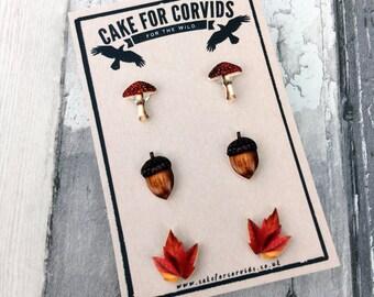 Woodland Autumn Fall Earrings Toadstool Leaf Acorn