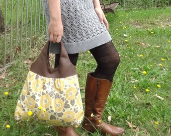 Slouch Bag Yellow Grey, Floral Hobo Tote Bag, Faux leather Hobo Bag, Travel Handbag Tote, Soft Fabric Handbag, Girlfriend Gift, Gift for Her
