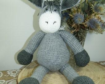 Donkey Cuddly Toy. Handmade Crochet. Gift. CE tested.