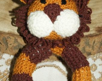 Lion Baby Rattle. Handmade crochet.