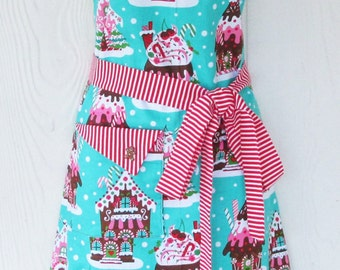 Gingerbread House Apron, Retro Inspired, Christmas Apron, Gingerbread Men, Peppermint Stripes, Vintage Style, KitschNStyle