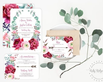 Printable Wedding Invitation | Burgundy Blush Watercolor Floral | Peony Roses Floral Wedding Invite | Floral Bohemian Printable Invitation