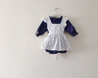 Vintage 2 Piece Blue and White Pinafore Blouse - Girls Size 2t (estimated)