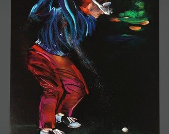 1991 Going For The Pin  Poster By Terry Rose Golf Golfer Poster Original Vintage Poster 8 x 10 Size