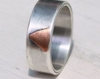 Rustic silver copper ring, silver wedding band, engagement ring, unique wedding ring, copper ring, artisan jewelry, Studioadama