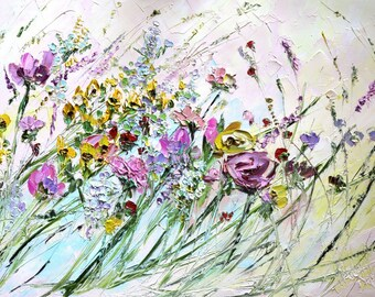 Colorful Flowers Summer Flower Painting Yellow Pink Lilac Purple Painting Abstract Flowers Impasto Textured Painting 32x20 Wildflower