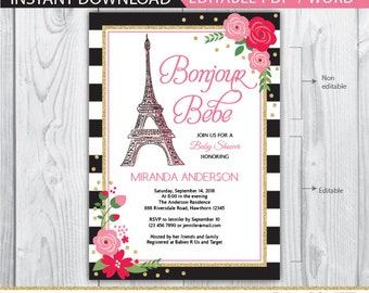paris baby shower invitation, french baby shower invitation, eiffel tower invitation, paris invitation, bonjour bebe, paris baby shower