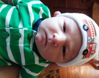 Fire Truck Hospital Hat - Fire Engine Hat - Newborn Fire Truck Hat - Baby Boy Hat - Newborn Baby Boy Hat - Boy Hat - Fire Engine - Boy Hat