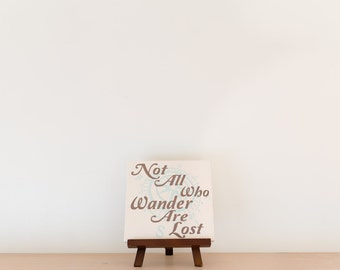 Not all who wander are lost wood sign with compass - Cream/Mint/Brown