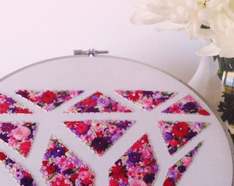 Hand Embroidery Floral Diamond Wall Art. Hoop Art. Fully Customizable