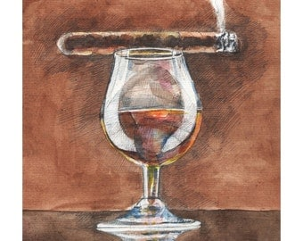 Aquarelle painting giclee museum quality Art print, CIGAR and WHISKY