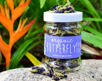 Organic Butterfly Pea Tea in a JAR 30g/ Organic Tea / Thai Herbal Tea / Fair-trade / Thai Tea / Naturally Sourced / Flower Tea / Organic Tea