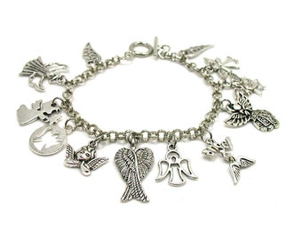 Angel Charm Bracelet, Angel Bracelet, Guardian Angel Bracelet, Religious Bracelet, Angel Jewelry, Gift Under 20, Angel Wings Bracelet