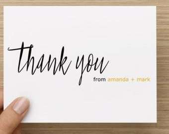 Bridal Shower Thank You Card. Modern thank you card.  Personalized.  Multiple pack sizes available!