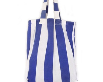 Stripped bag. White and blue fabric bag. Summer tote bag. Beach bag