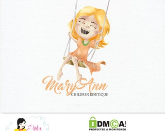 Handrawn Premade Logo / Watercolor Girl on Chair Swing Logo / Photography Business Logo Design – LD061